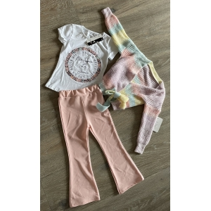 Set 3 delig roze flair/T-shirt/Rainbow knoop vest