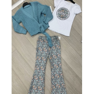 Set 3 delig flair pants bloem, t-shirt en vest